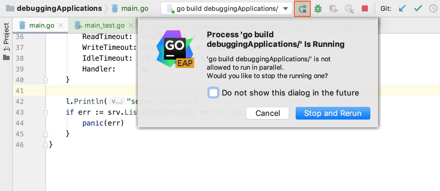 Rerun an application