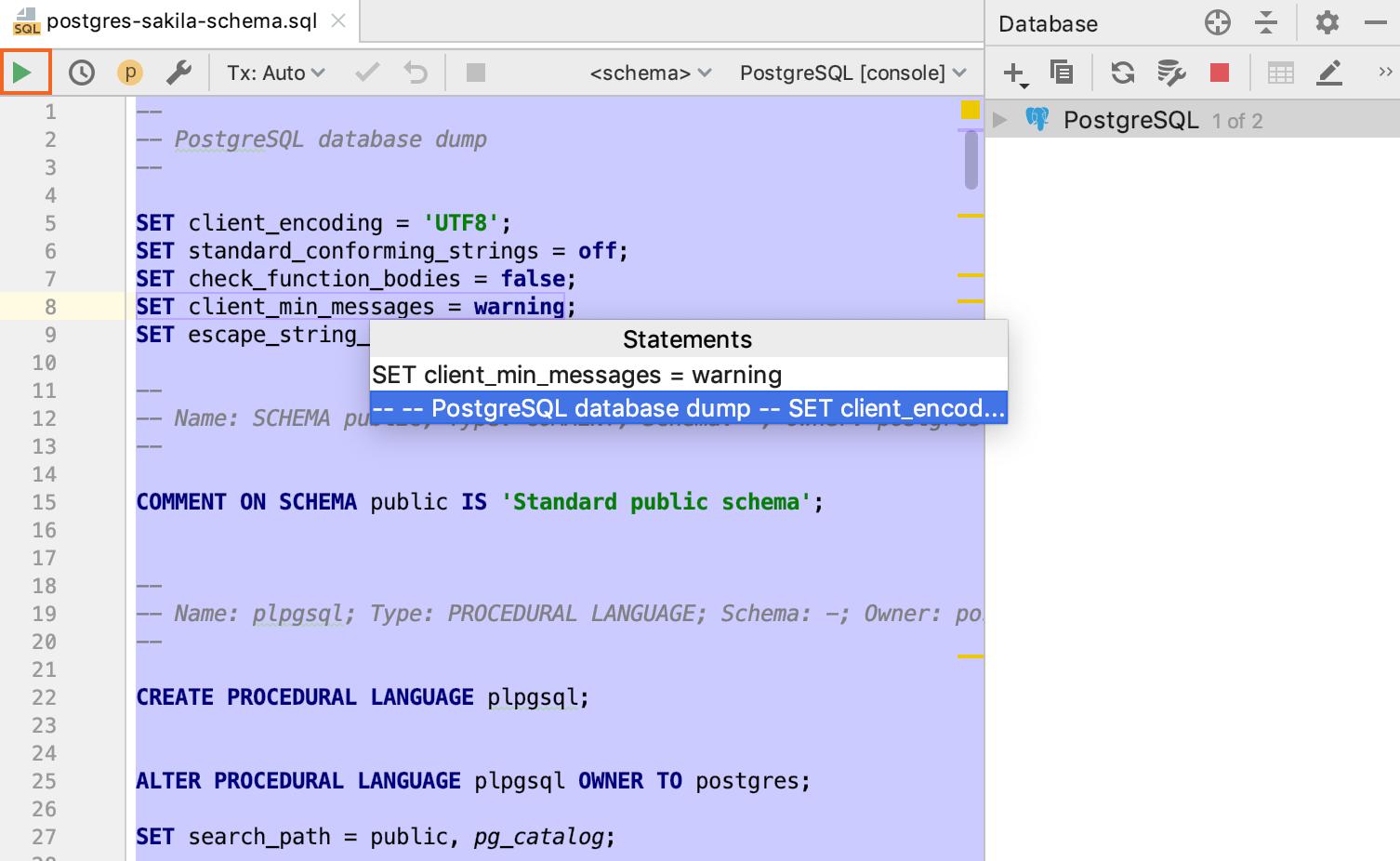 Run existing SQL files
