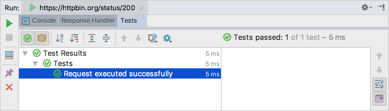 The Tests tab of the Run tool window