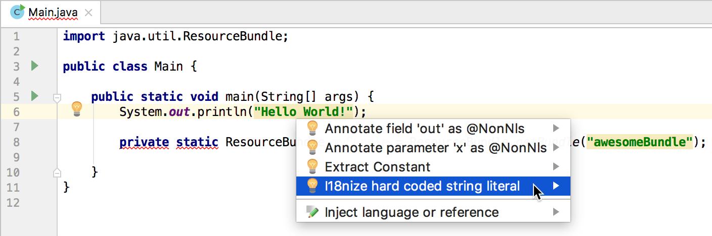 Hard-coded string literals - Help | IntelliJ IDEA