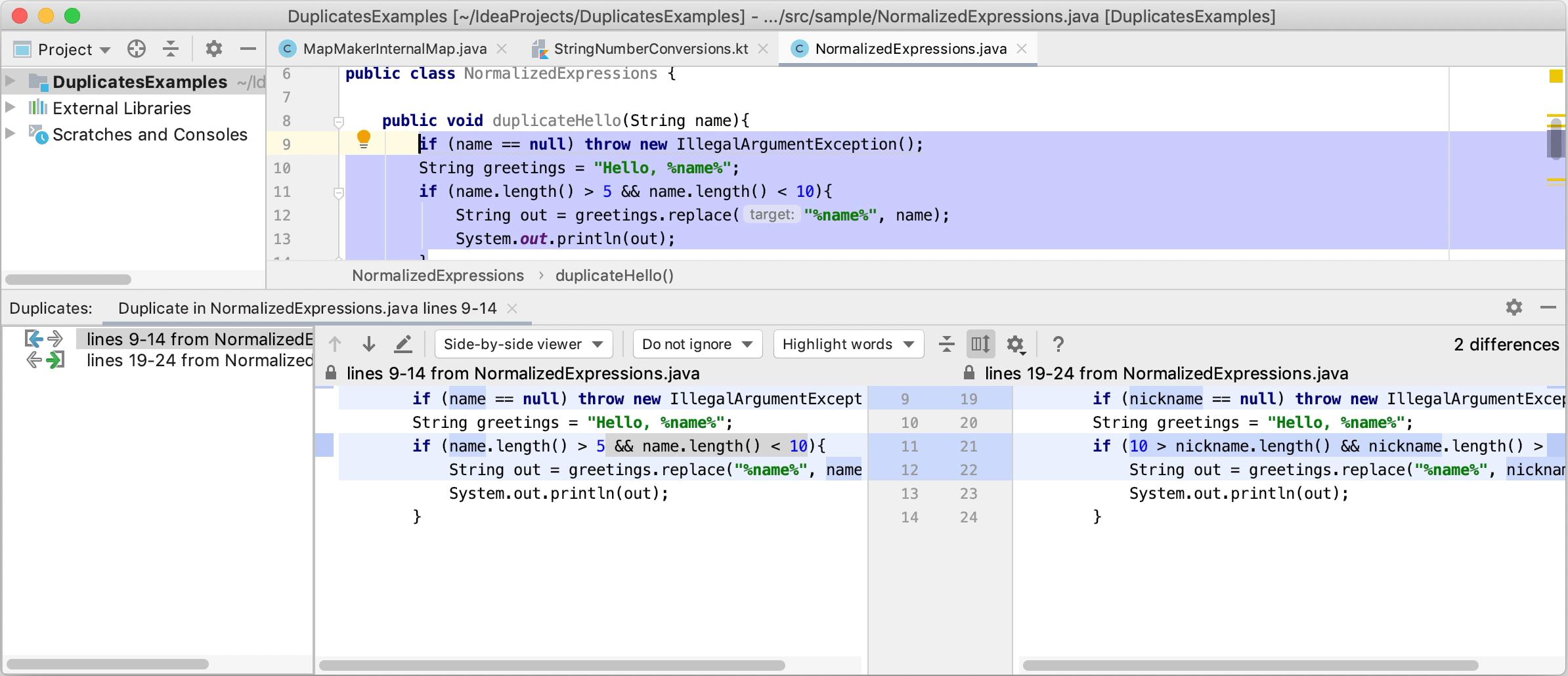 Inspection: Duplicated code fragment - Help | IntelliJ IDEA