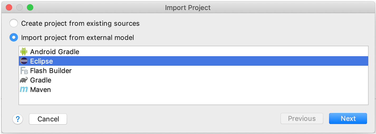 Imporing a project from Eclipse