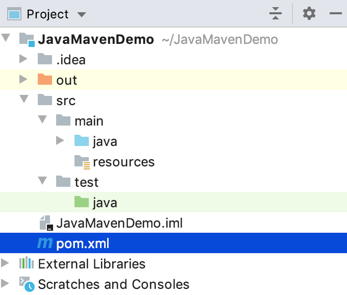 Maven project view