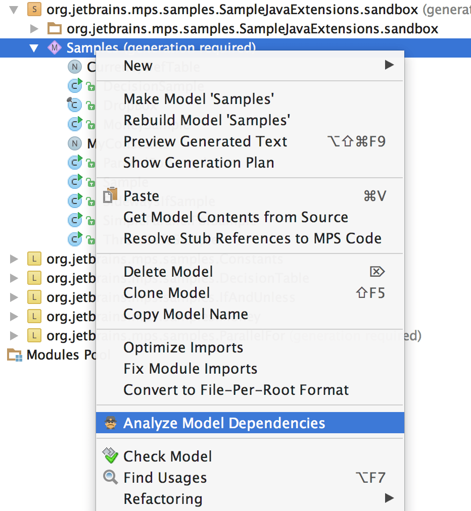 Dependencies Analyzer from context menu