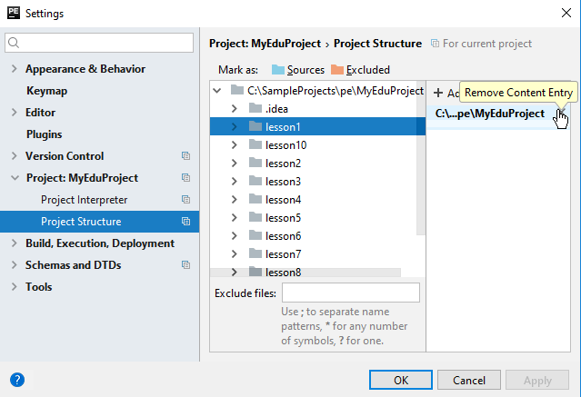 Remove content root