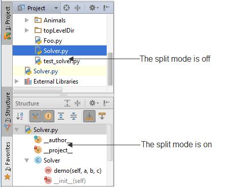 Tool window Split mode