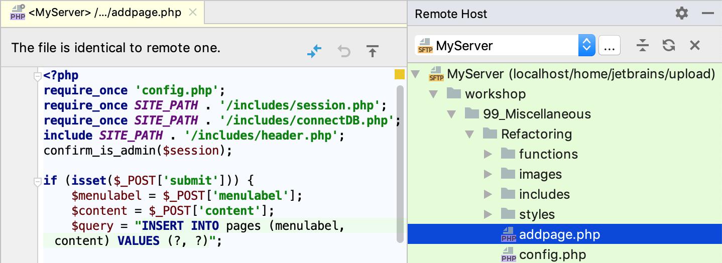 Editing Individual Files on Remote Hosts - Help | PhpStorm