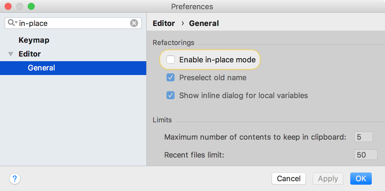 the Enable in-place mode setting