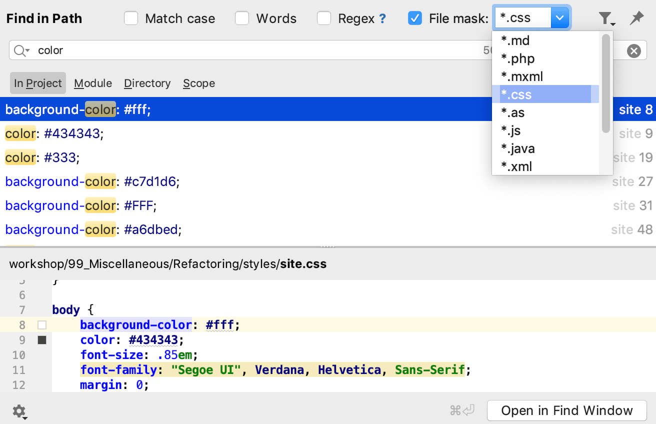 Finding and replacing text in a project - Help | PhpStorm