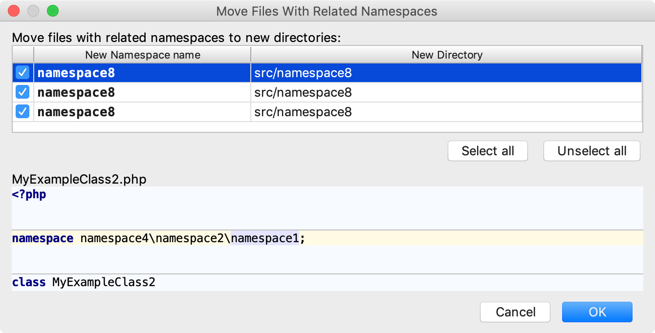 the Move Files With Related Namespaces dialog