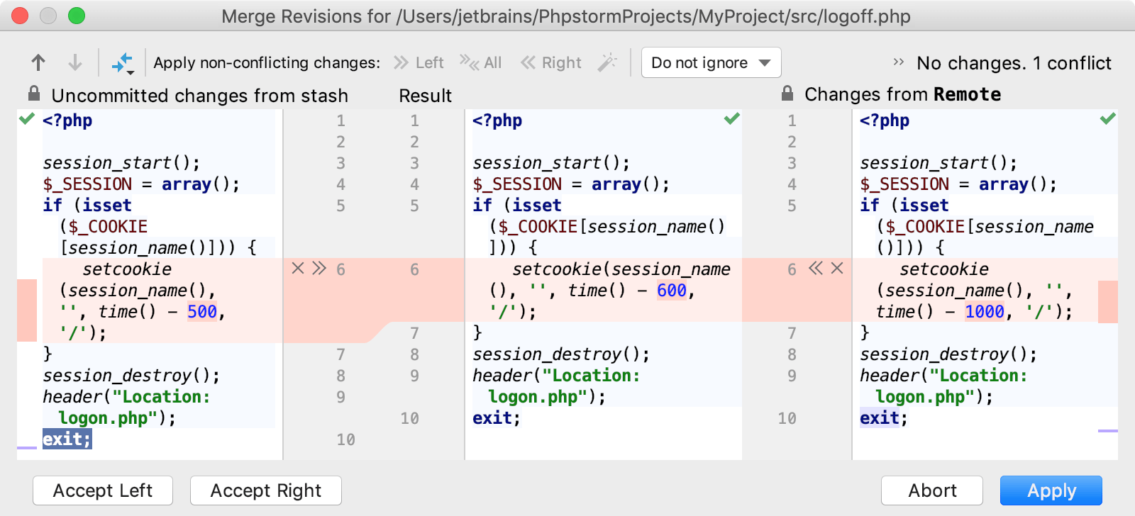 Resolve Conflicts - Help | PhpStorm