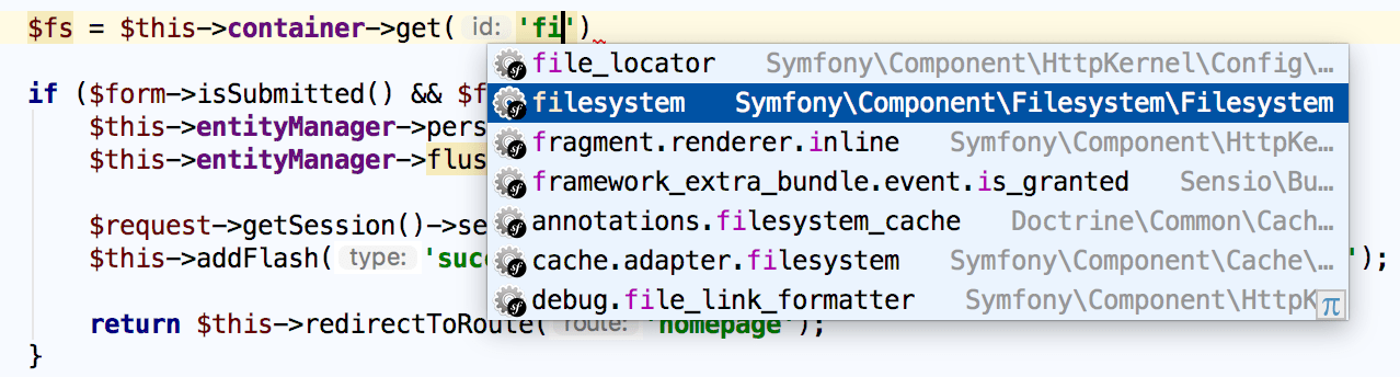 Symfony service name completion