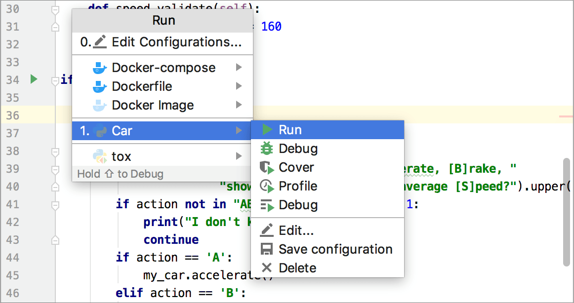 Running and Rerunning Applications - Help | PyCharm