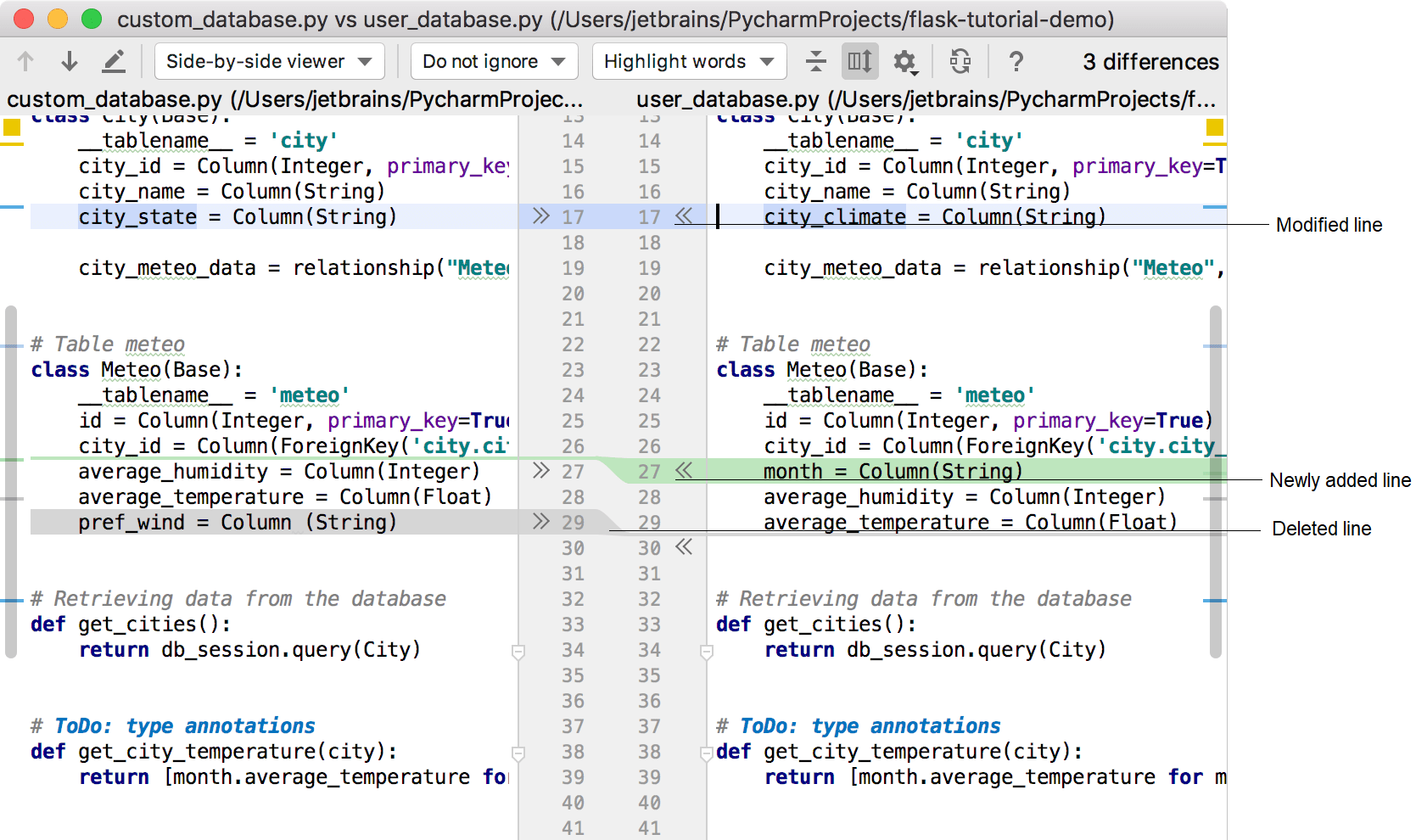Comparing Files - Help | PyCharm