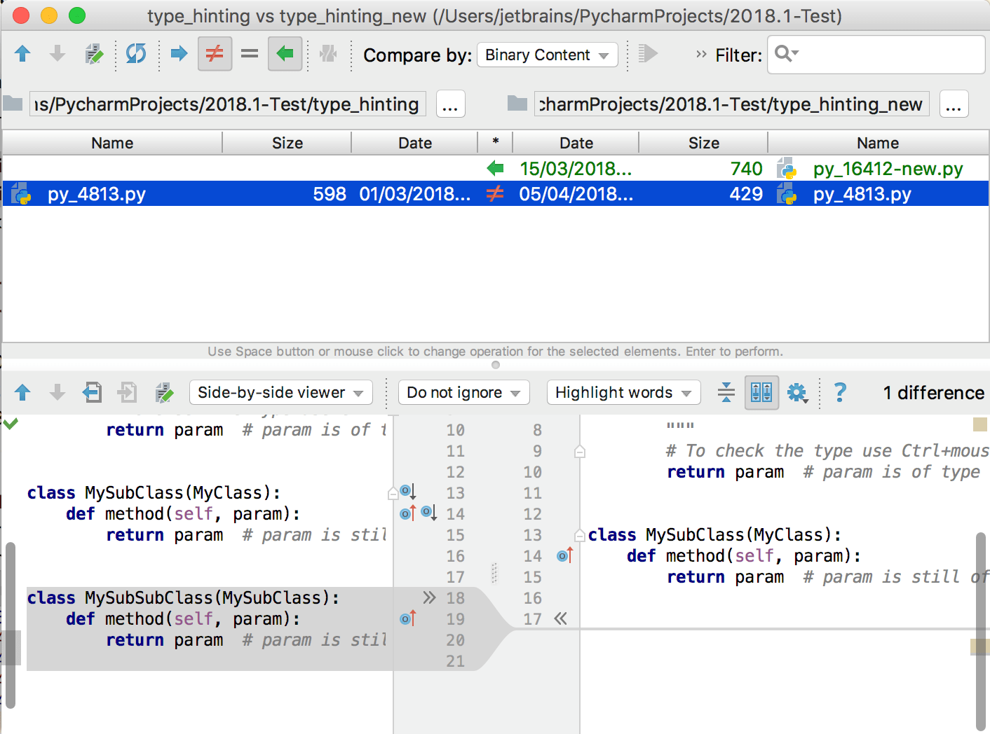 Comparing files, folders and text sources - Help | PyCharm