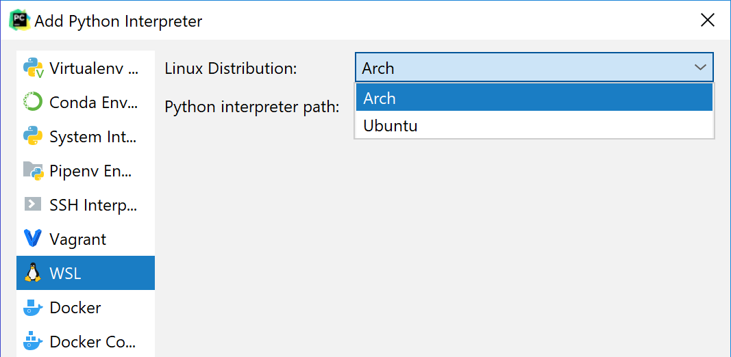 Configure a remote interpreter using WSL - Help | PyCharm
