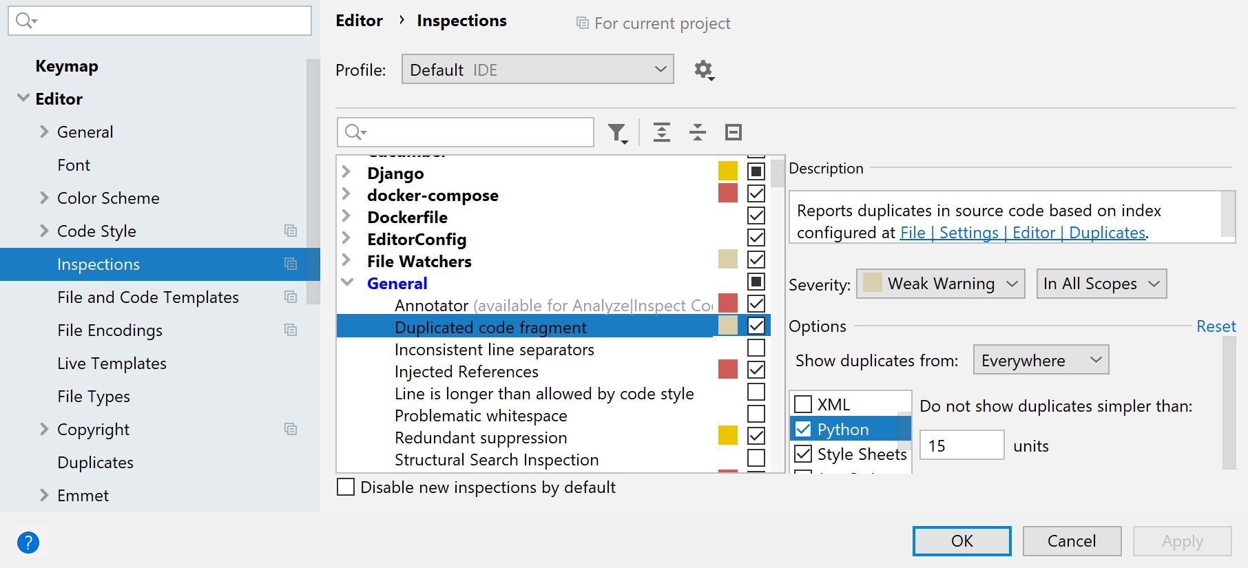Analyze duplicates - Help | PyCharm