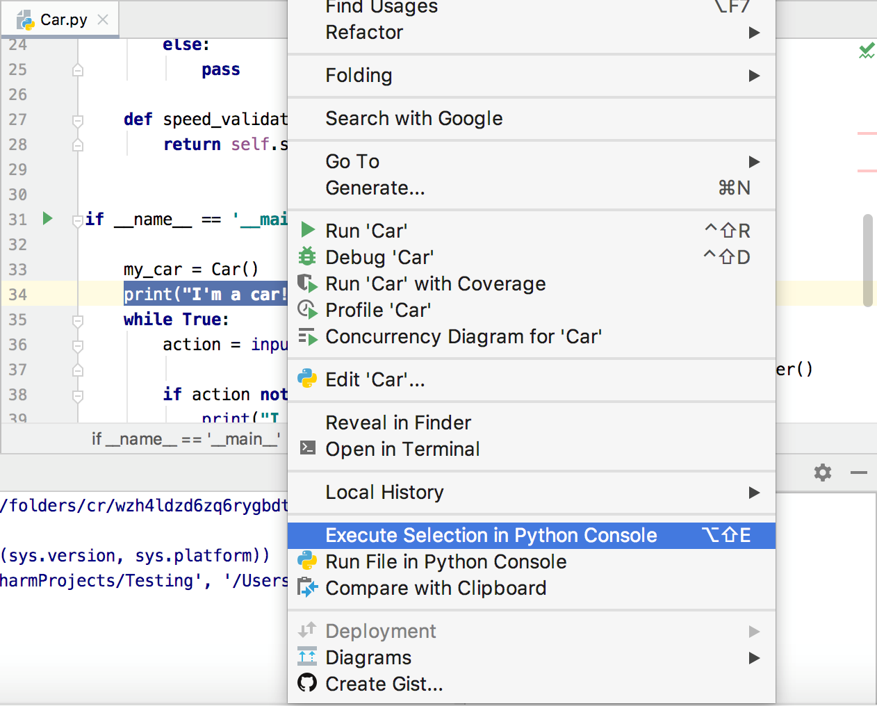 Loading Code from Editor into Console - Help | PyCharm