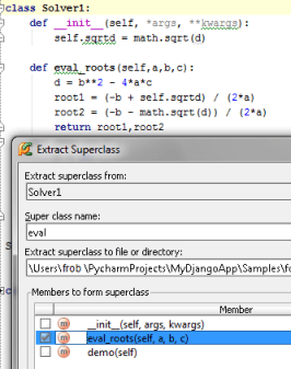 Extract Superclass dialog