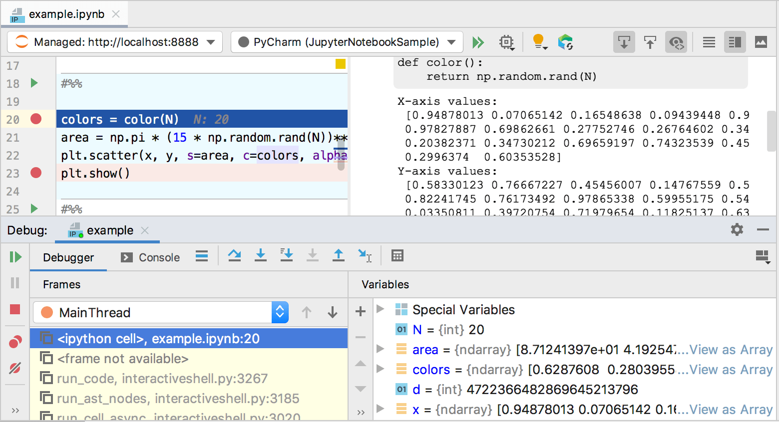 Jupyter Notebook Debugger tool window