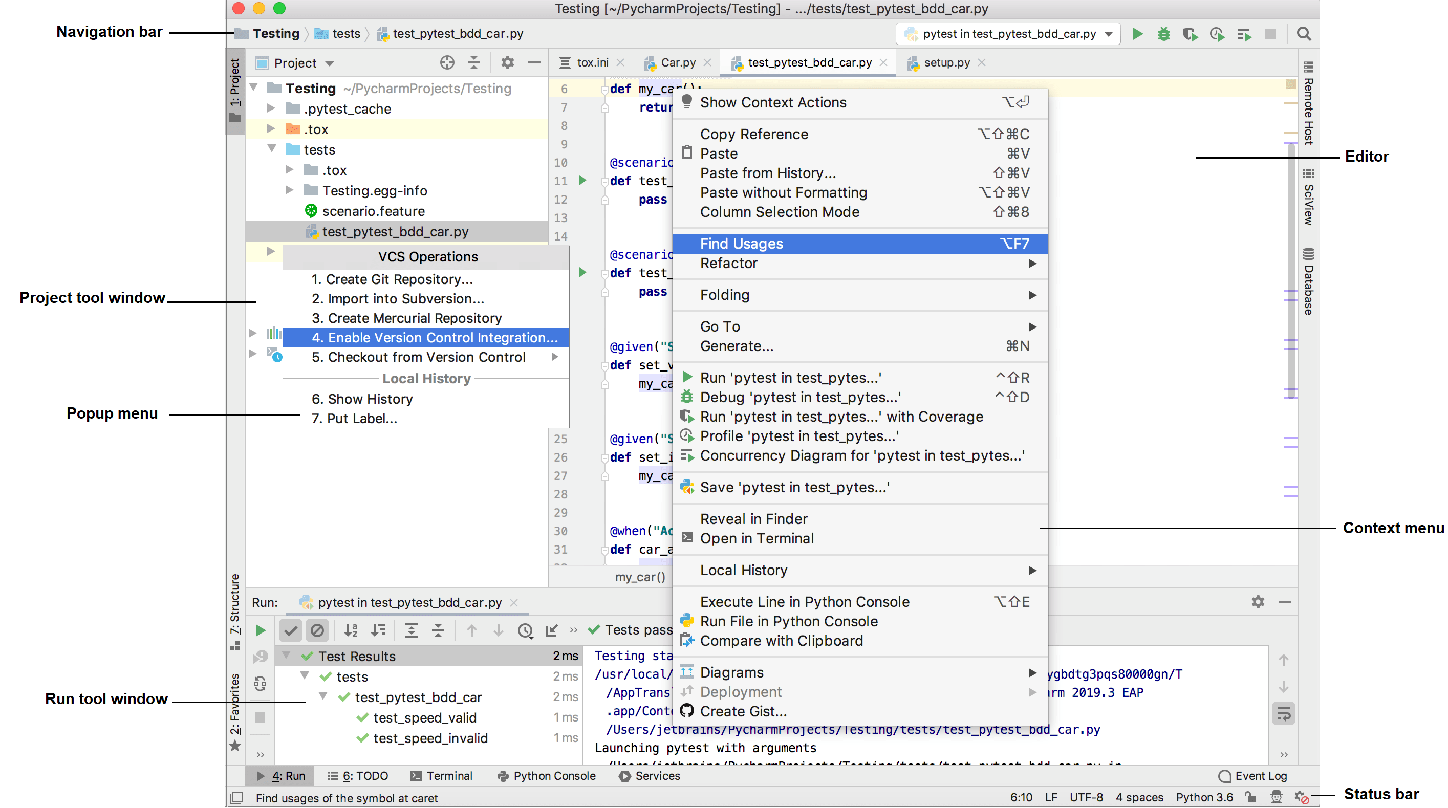 Overview of the user interface - Help | PyCharm