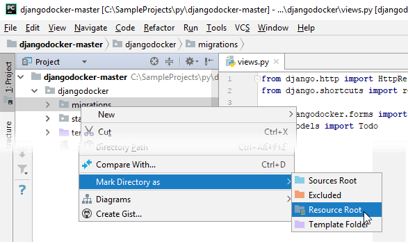 Mark directory in the Project tool window