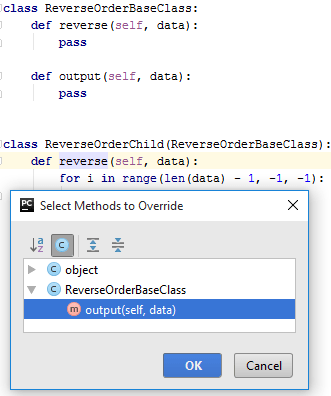 Select methods to override