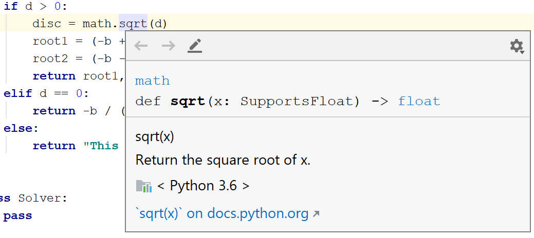 Code reference information - Help | PyCharm