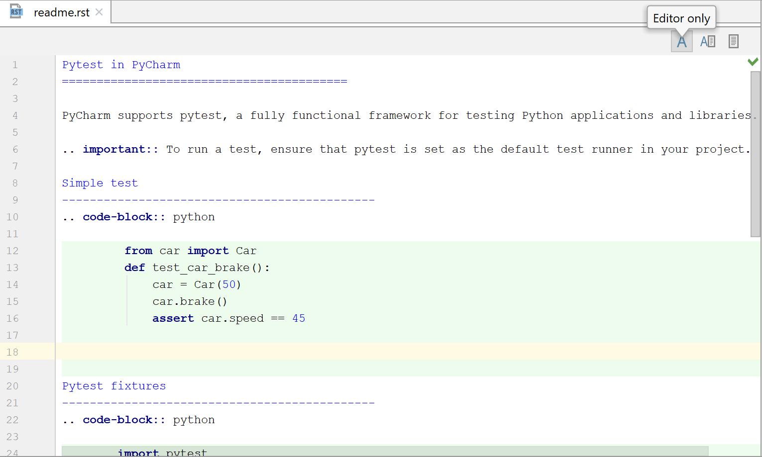 reStructuredText support - Help | PyCharm