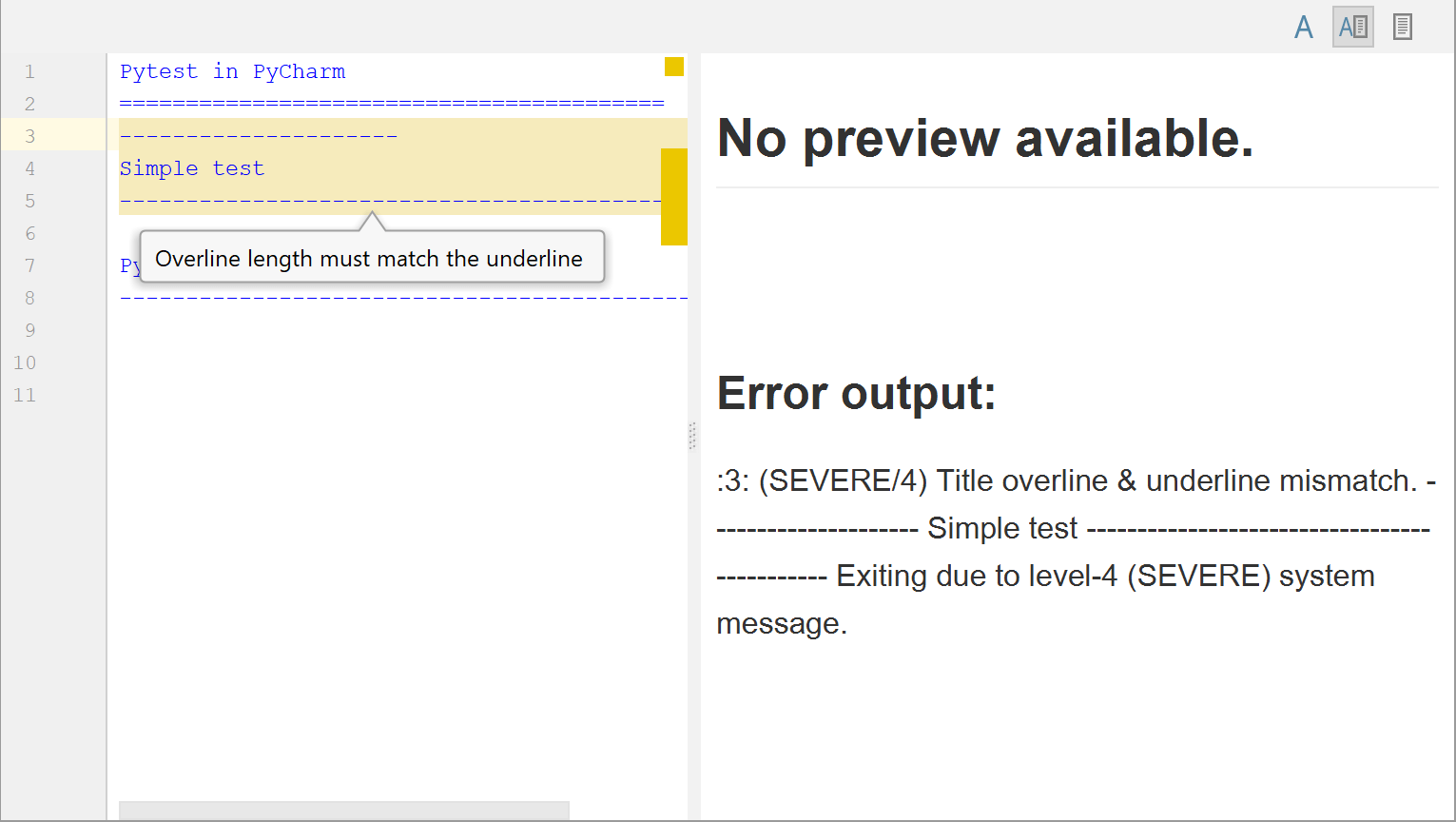 Markup error detected