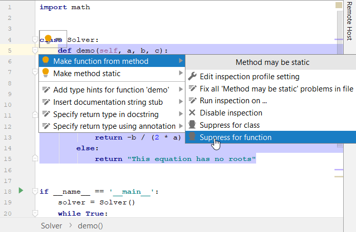 Disable and suppress inspections - Help   PyCharm