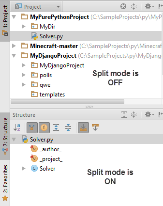 Tool window Split mode