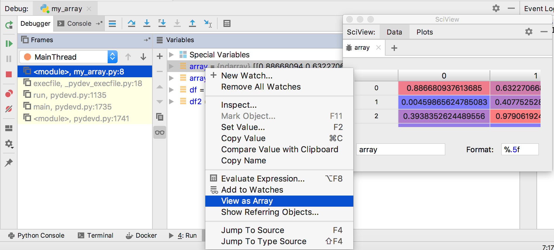 Viewing as Array or DataFrame - Help | PyCharm