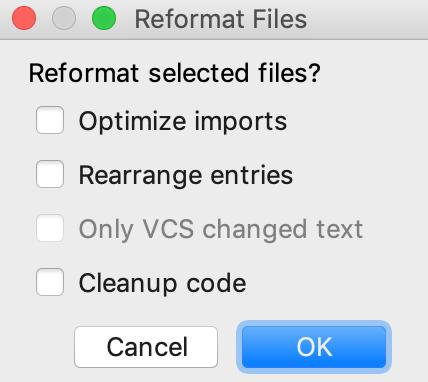 Reformat Files dialog
