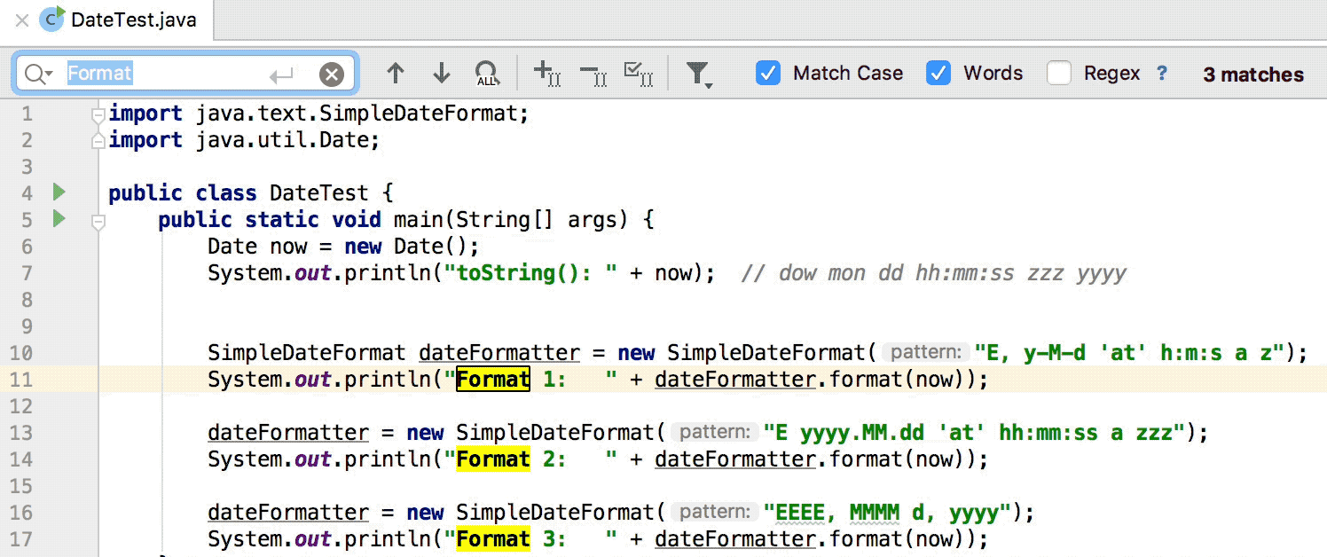 Search for a target within a file - Help | IntelliJ IDEA