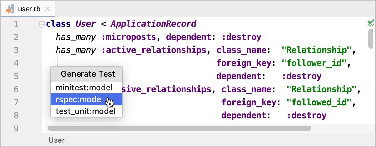 Creating tests - Help | RubyMine