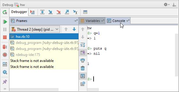 Using Debug Console - Help | RubyMine