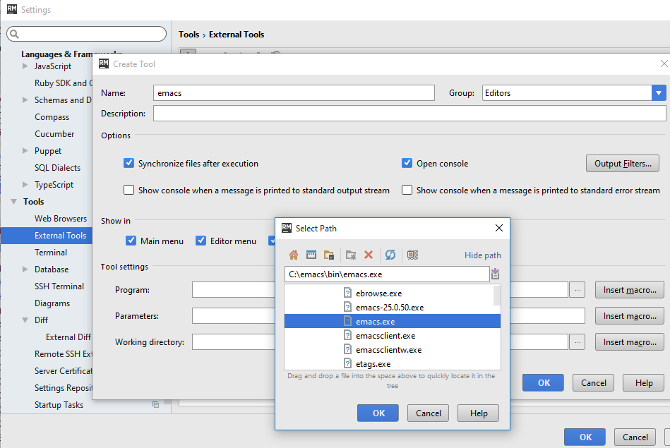 Using Emacs as an External Editor in RubyMine - Help | RubyMine