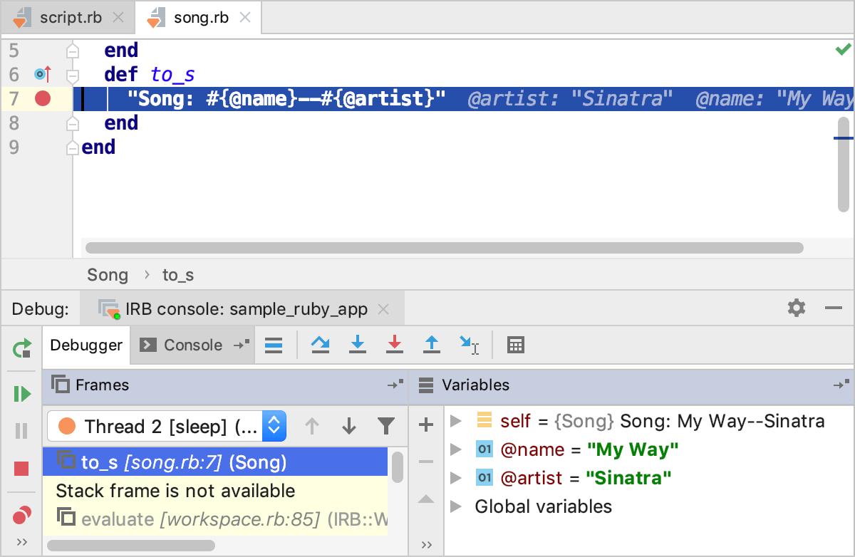 Tutorial: Debug in IRB/Rails Console - Help | RubyMine