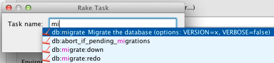 Code completion for the Rake tasks