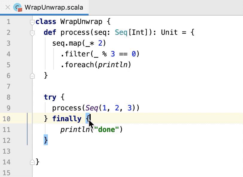 Work with Scala code in the editor - Help | IntelliJ IDEA