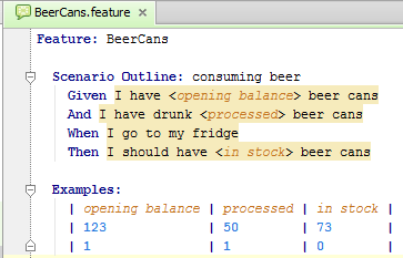 Creating Examples Table in Scenario Outline - Help