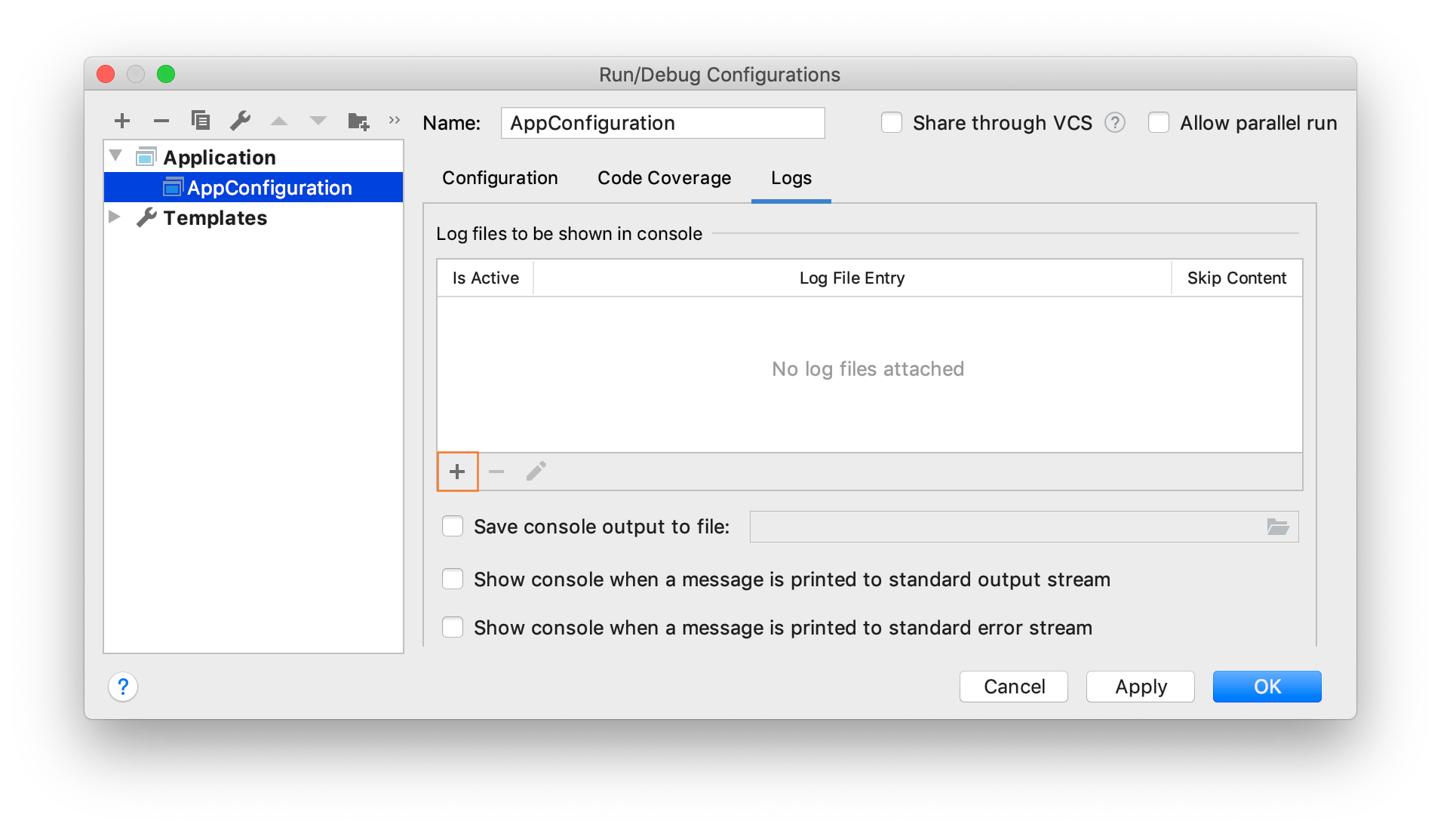 Opening the Edit Log Files dialog