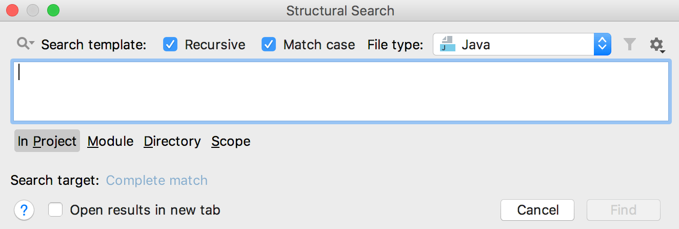 Structural Search dialog