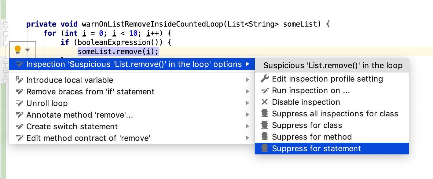 Disable and suppress inspections - Help | IntelliJ IDEA