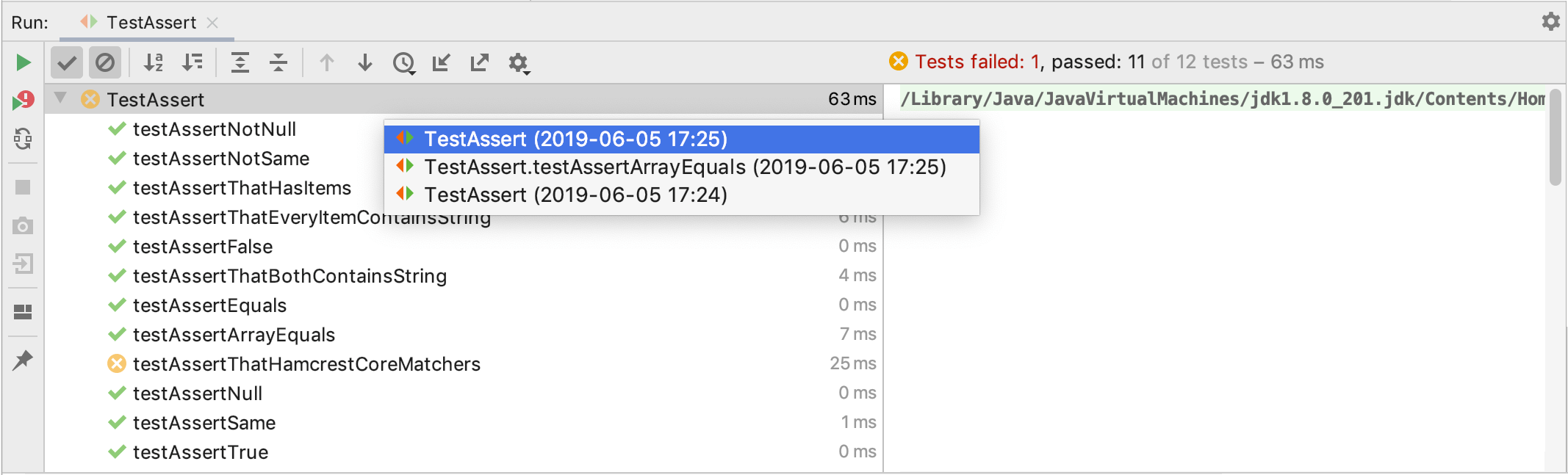 Viewing and Exploring Test Results - Help | IntelliJ IDEA