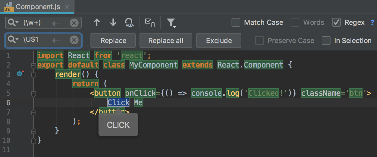 Find and replace a string using regular expressions - Help | WebStorm