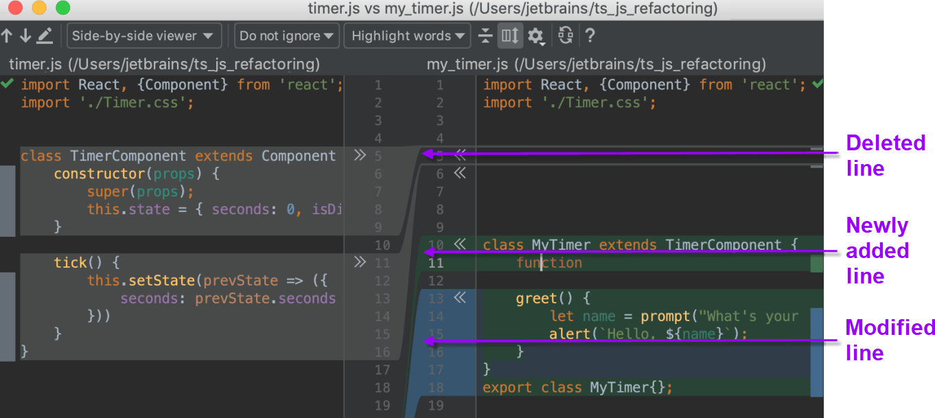 Comparing files, folders and text sources - Help | WebStorm