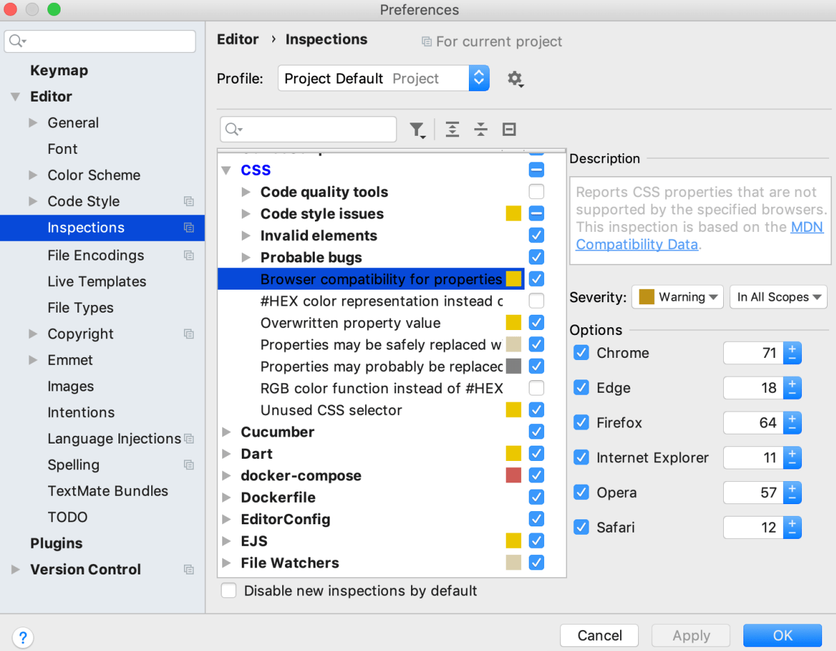 CSS compatibility inspection settings