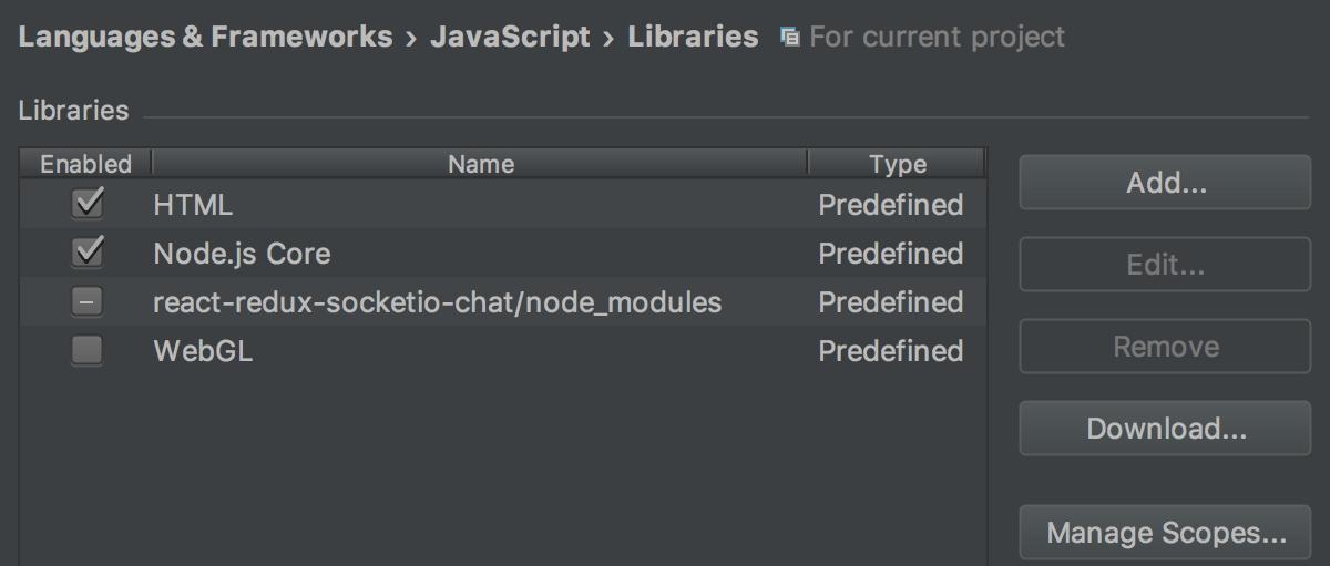 Configuring JavaScript Libraries - Help | IntelliJ IDEA
